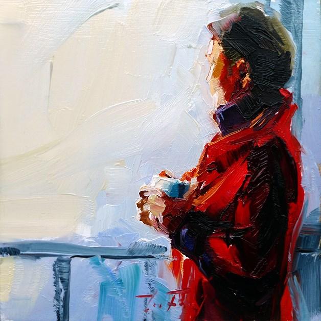 """""""Frau am Fenster"""" original fine art by Jurij Frey"""