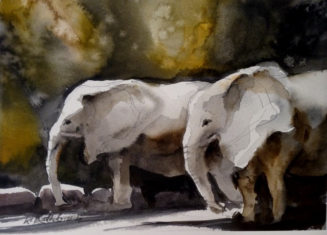 """Two Elephants"" original fine art by Kathy Los-Rathburn"