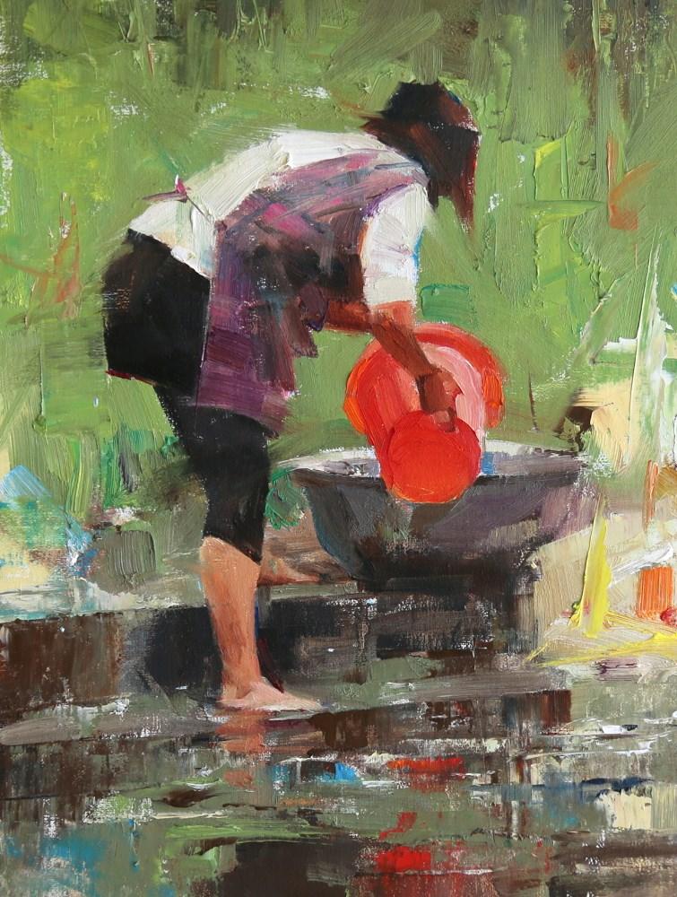 """Morning Laundry"" original fine art by Qiang Huang"