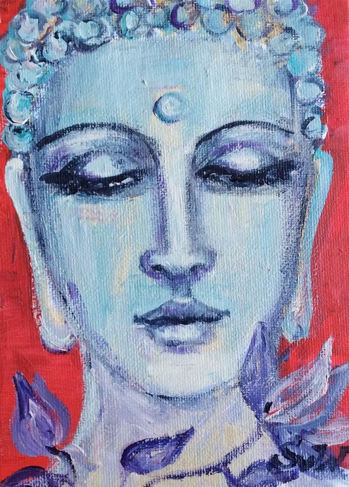 """Blue Buddha and magnolia"" original fine art by Sonia von Walter"