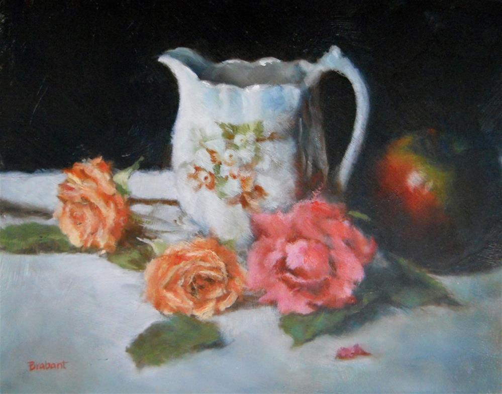 """""""White Pitcher with Apple"""" original fine art by Jill Brabant"""