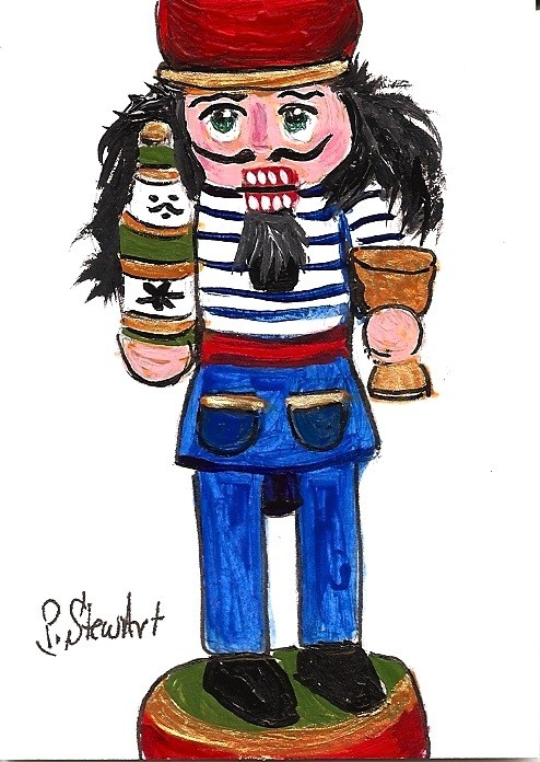"""ACEO Nutcracker Painting Drunken Sailor Art OOAK Original SFA Penny StewArt"" original fine art by Penny Lee StewArt"