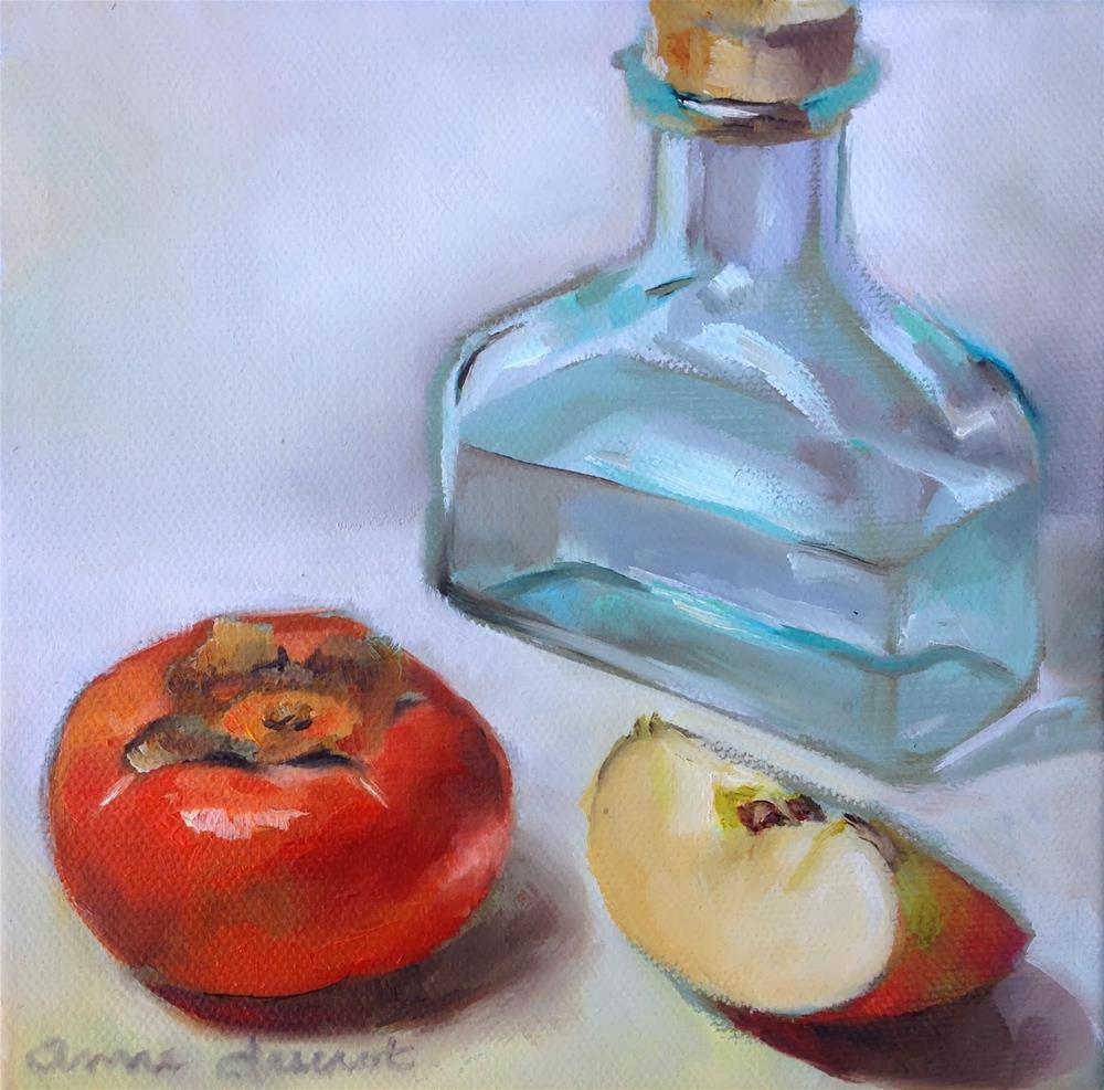 """Persimmon, apple & glass pitcher"" original fine art by Anne Ducrot"