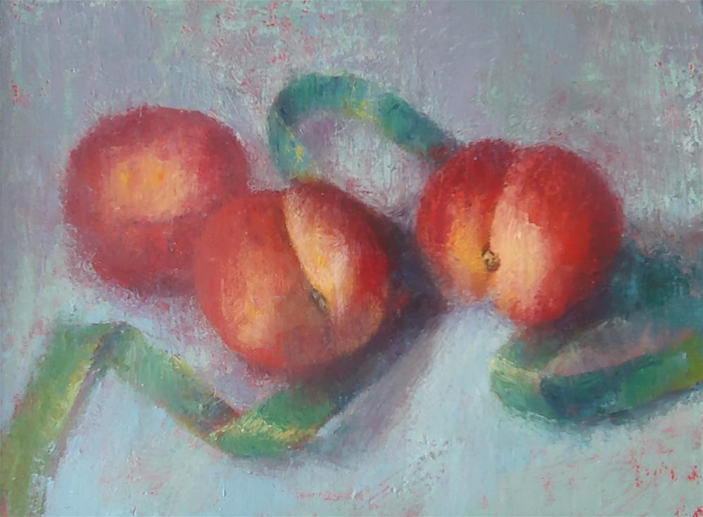 """""""Peaches and Green Ribbon"""" original fine art by Cindy Haase"""