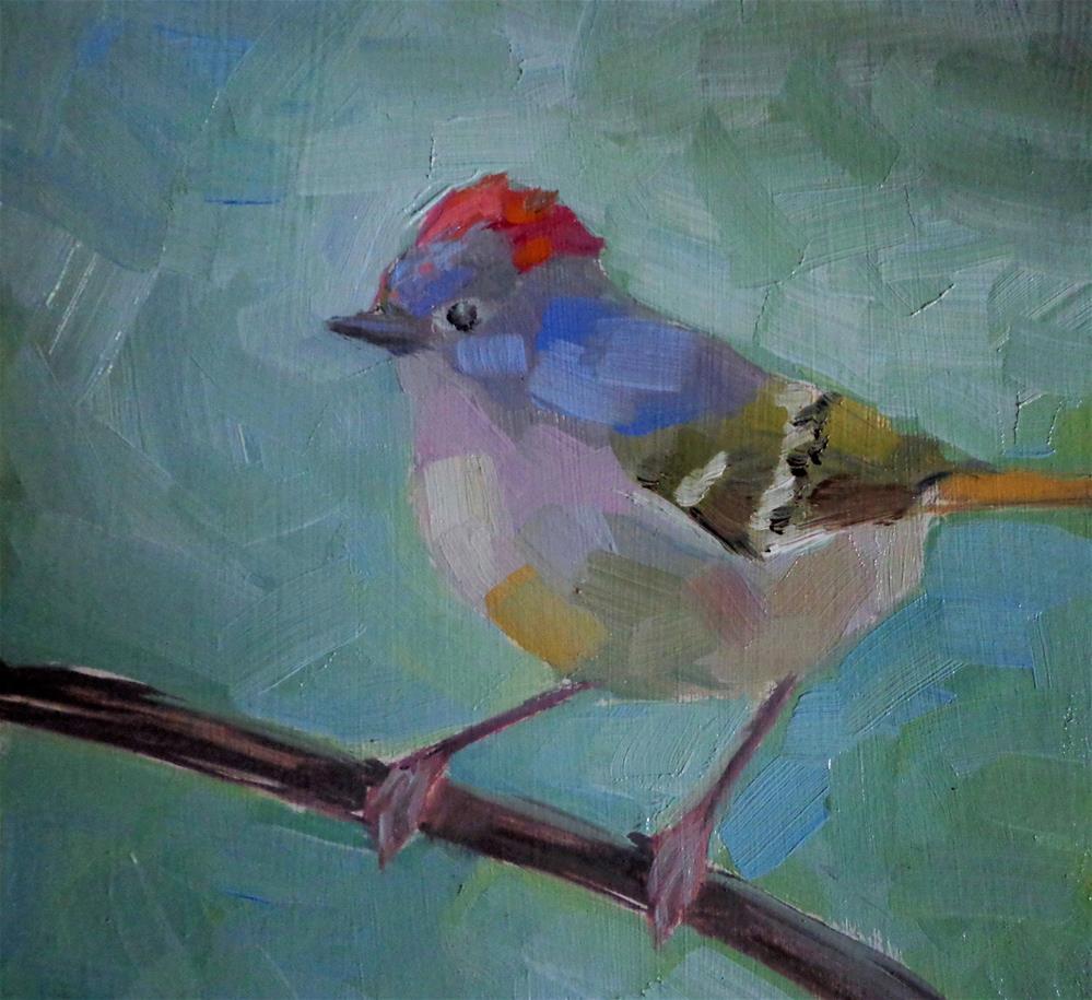 """Kinglet"" original fine art by Maria Z."
