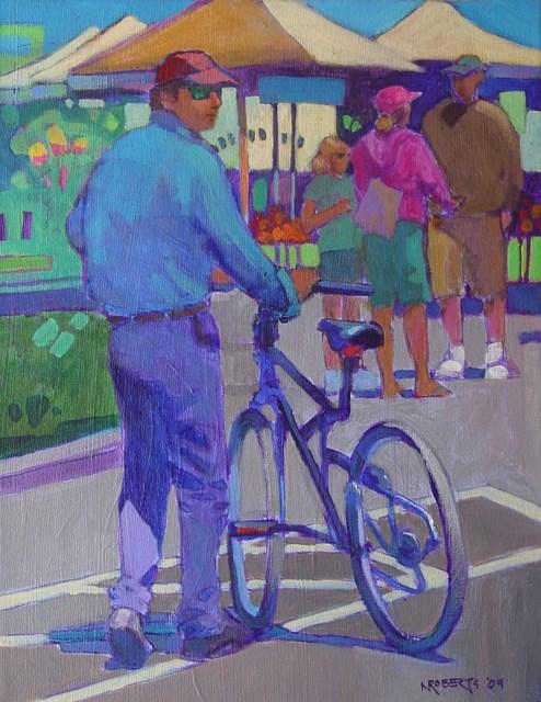 """Bicycle Guy"" original fine art by Nancy Roberts"