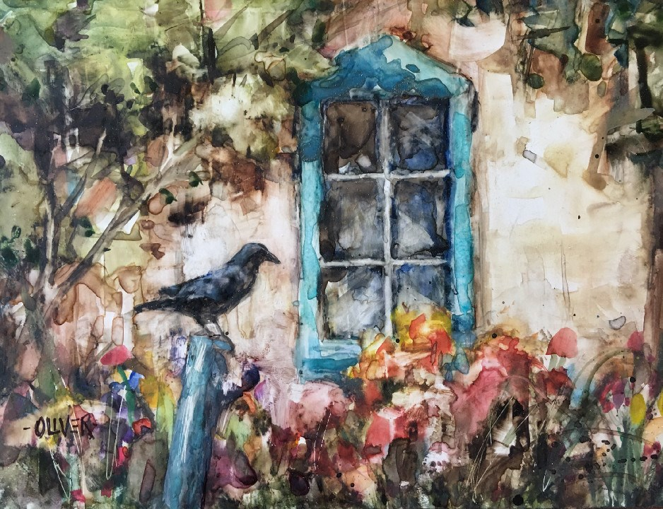 """""""Waiting - watercolor on Yupo"""" original fine art by Julie Ford Oliver"""