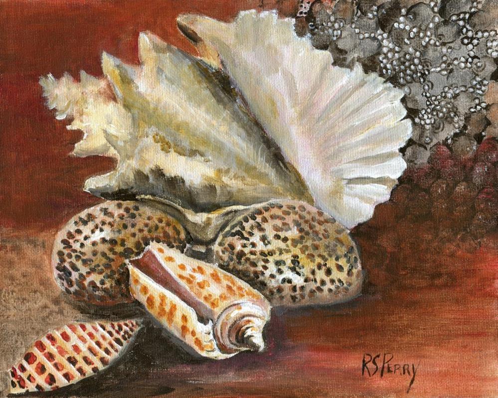 """Gastropods:Junonia, alphabet cone, cowrie, conch"" original fine art by R. S. Perry"
