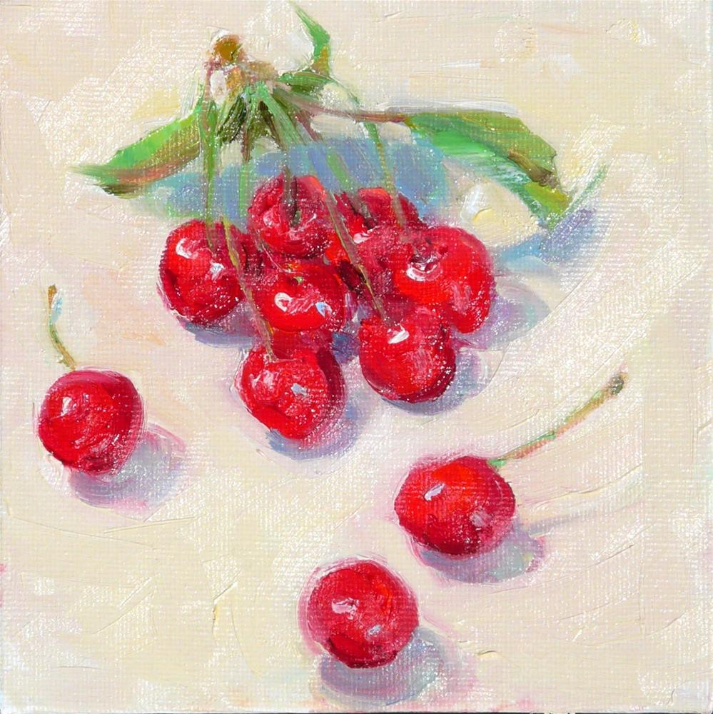 """Cherries,still life,oil on canvas,6x6,price$200"" original fine art by Joy Olney"