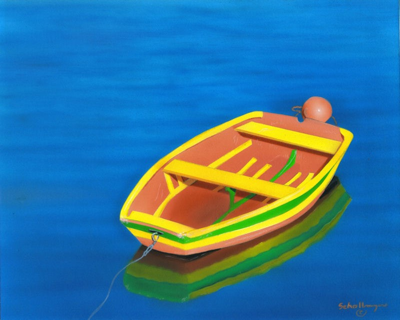 """""""Colorful Boat with Calm Waters"""" original fine art by Fred Schollmeyer"""