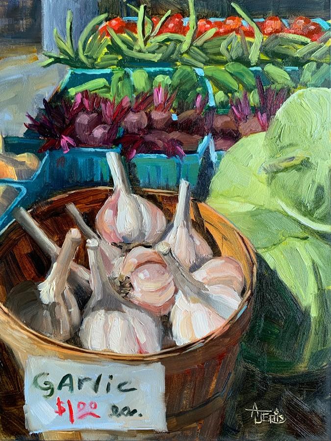 """Garlic $1"" original fine art by Andrea Jeris"