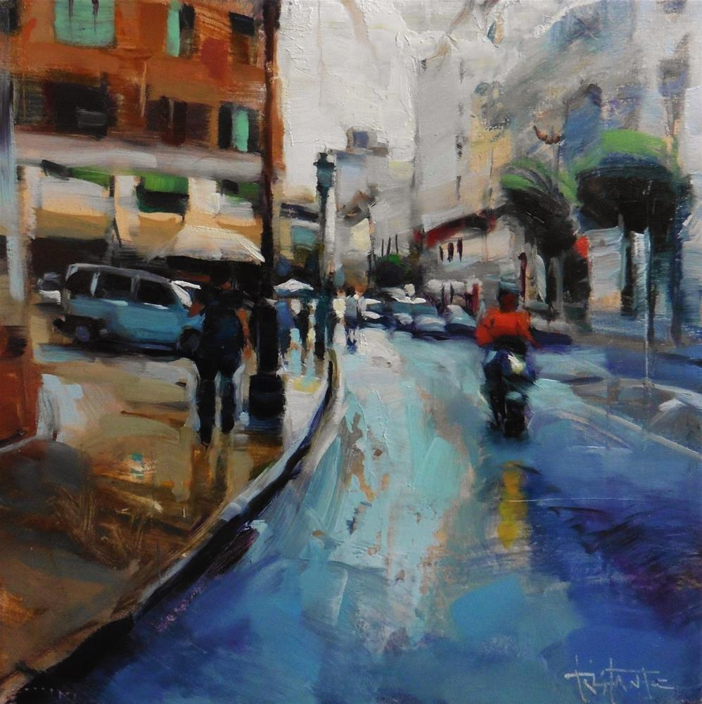 """Rainy street"" original fine art by Víctor Tristante"