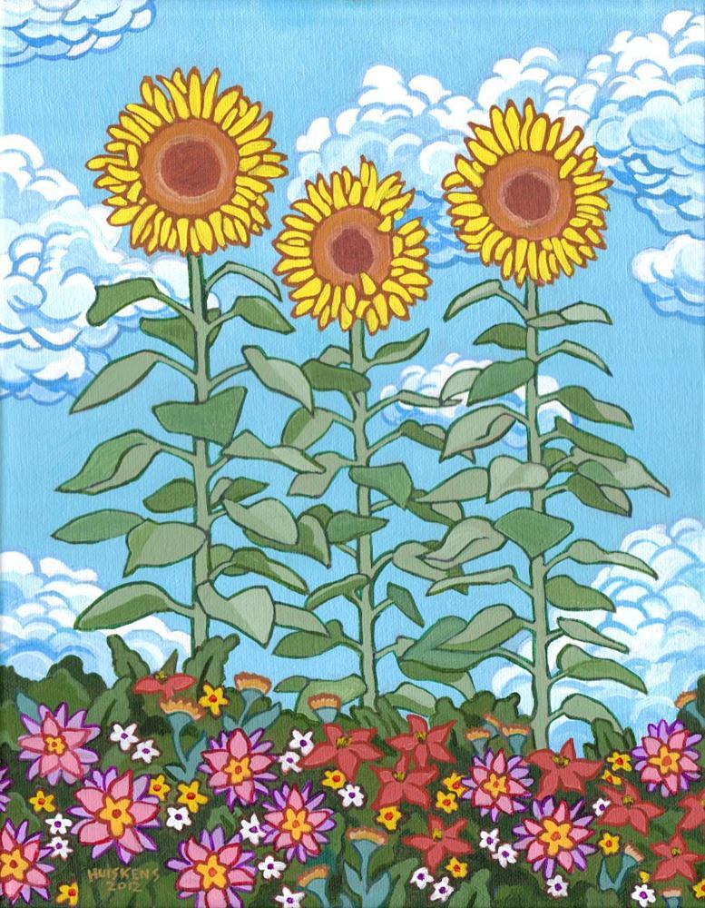 """Three Sunflowers"" original fine art by Randal Huiskens"