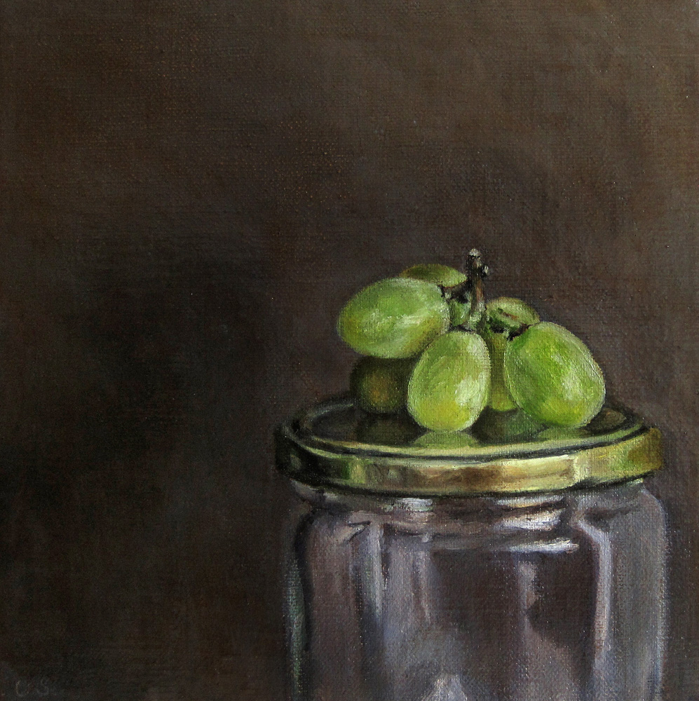 """Grapes on Jar"" original fine art by Ulrike Miesen-Schuermann"
