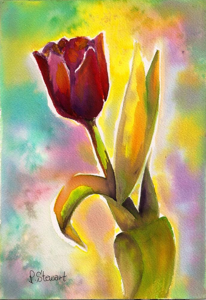 """7x10 Red Tulip Flower Colorful Watercolor Original Painting SFA Penny StewArt"" original fine art by Penny Lee StewArt"