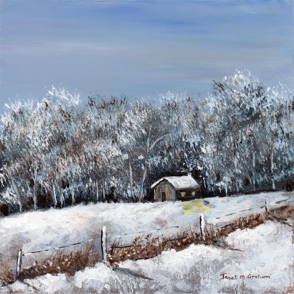 """Winter Cabin"" original fine art by Janet Graham"