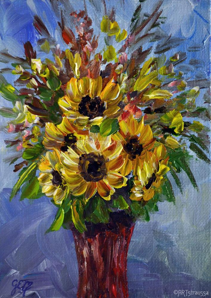 """SALE!!!Sunflower Rubies"" original fine art by Gloria Ester"