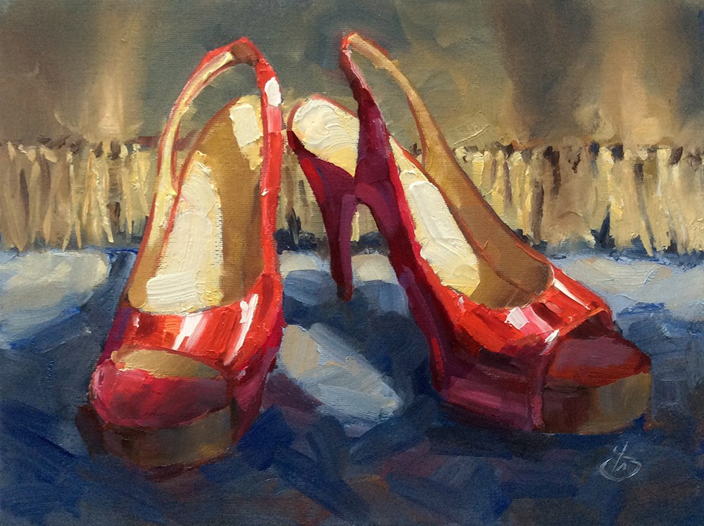 """""""RED SHOES"""" original fine art by Tom Brown"""