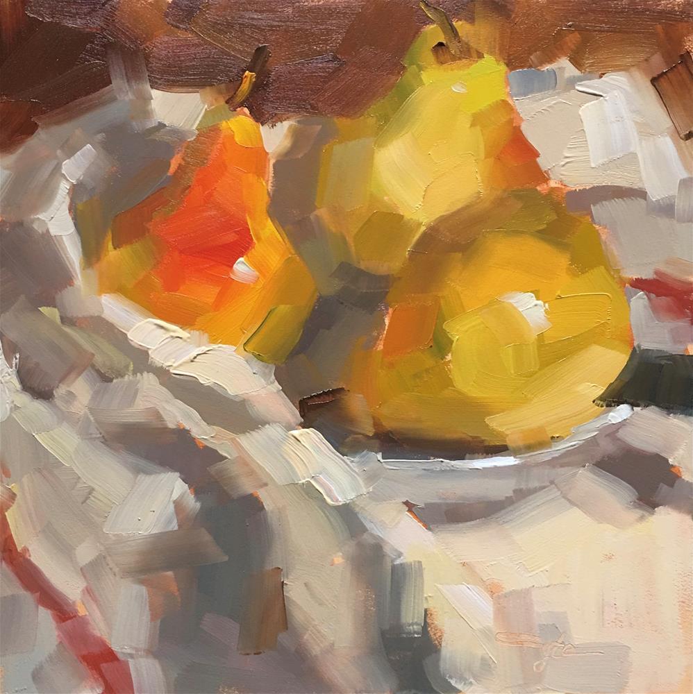 """Three Pears"" original fine art by Katia Kyte"