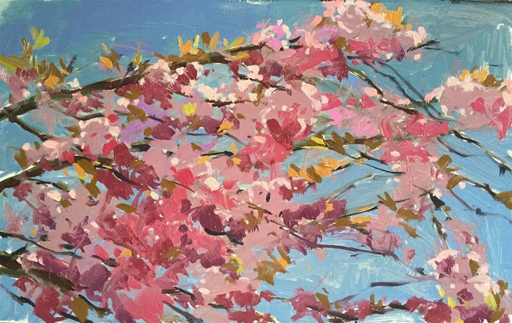 """Cherry blossom"" original fine art by Haidee-Jo Summers ROI"