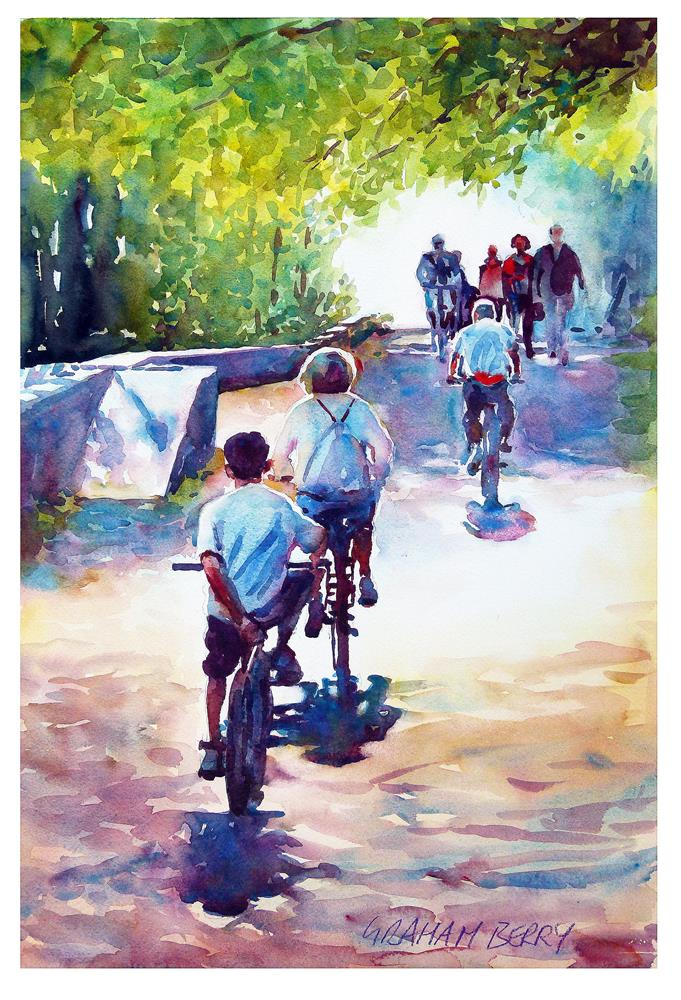 """""""Cycling on the towpath"""" original fine art by Graham Berry"""
