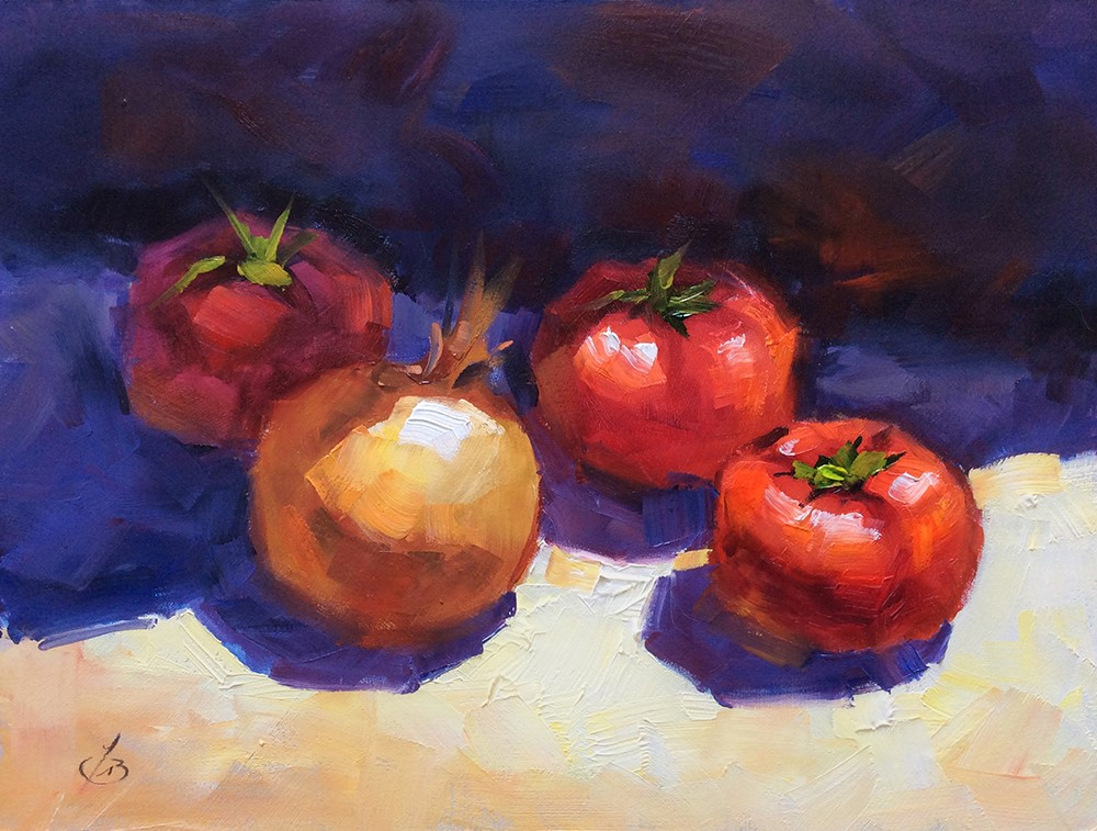 """ONION AND TOMATOES"" original fine art by Tom Brown"