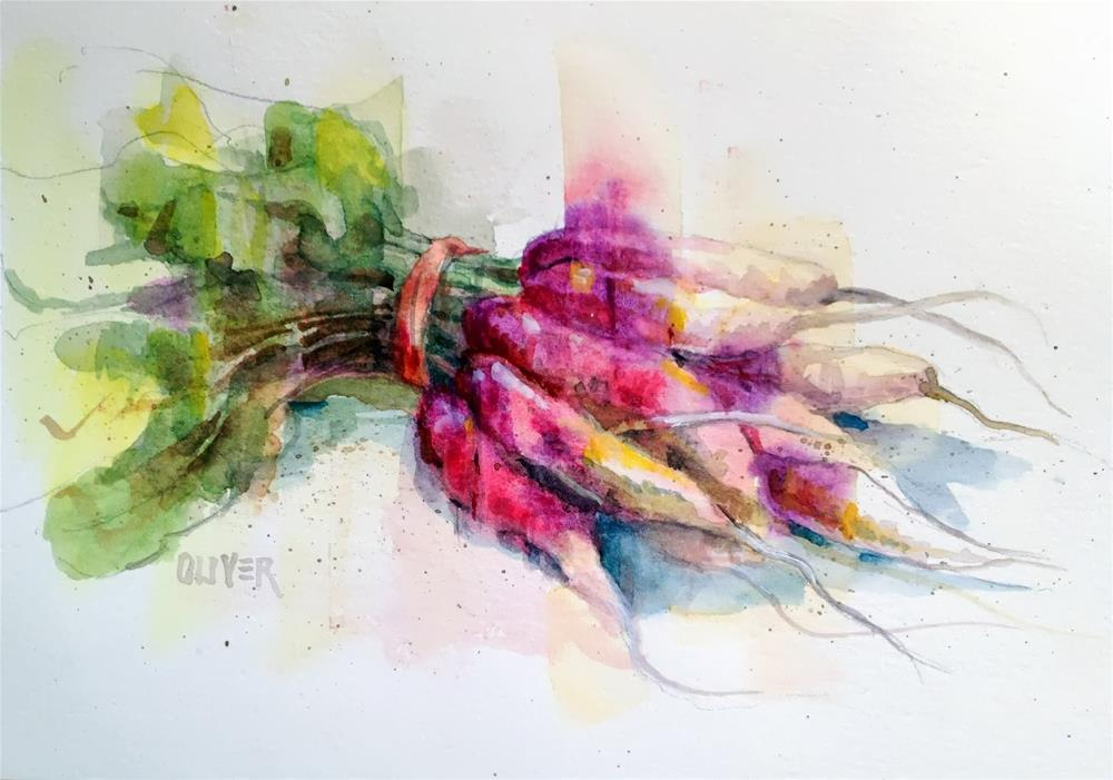 """French Radish"" original fine art by Julie Ford Oliver"