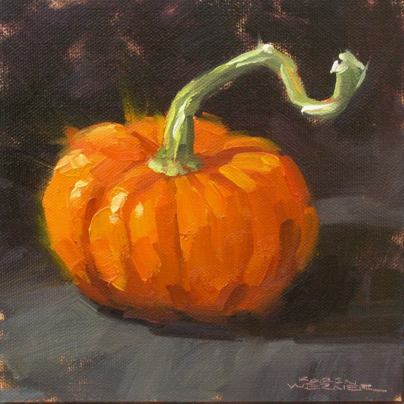 """""""Perky Pumpkin """" original fine art by Karen Werner"""