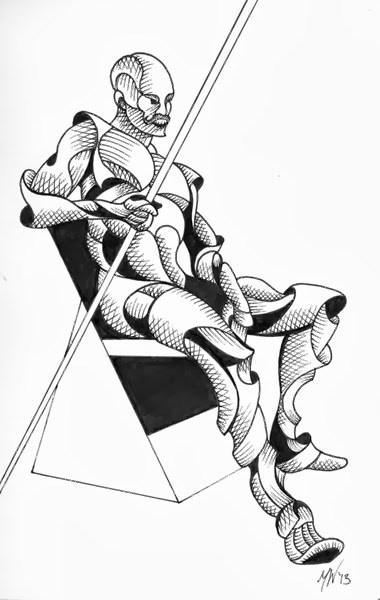 """Mark Webster - Dan M. 242-19 - Abstract Geometric Futurist Figurative Ink Drawing"" original fine art by Mark Webster"