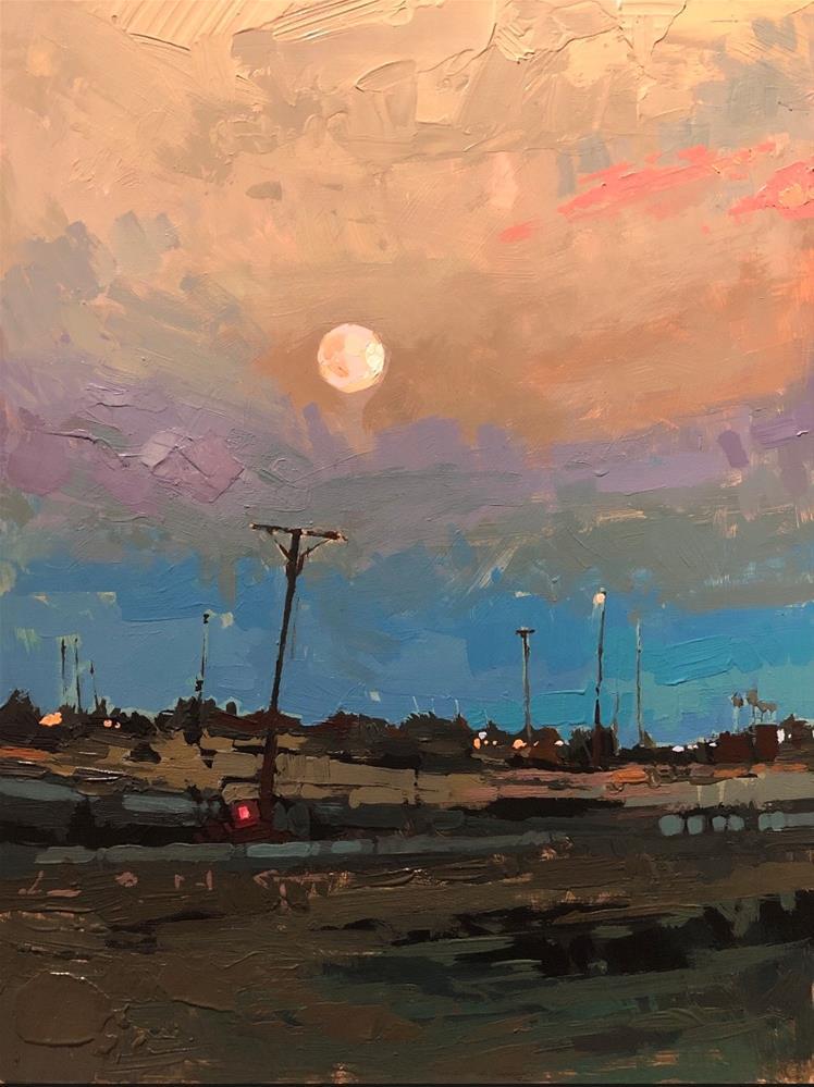 """Coachella Full Moon"" original fine art by Christopher Long"