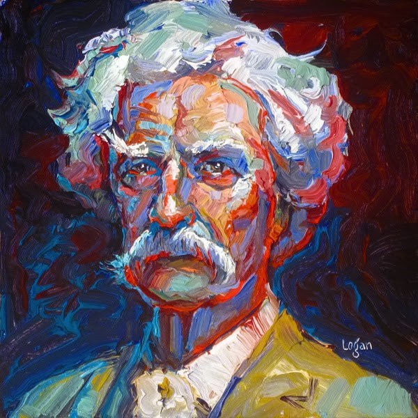 """Study of Mr. Samuel Langhorne Clemens (a.k.a. Mark Twain)"" original fine art by Raymond Logan"