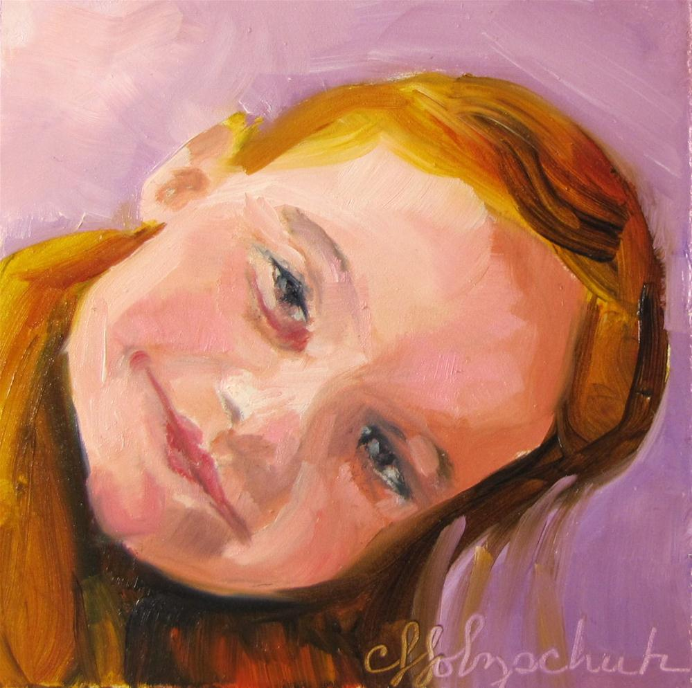 """Emily 4x4 oil sold"" original fine art by Christine Holzschuh"