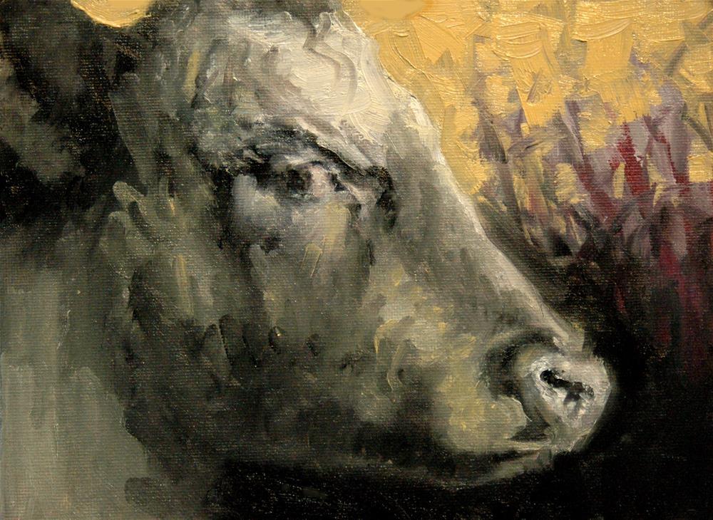 """""""The Cow Challenge"""" original fine art by Rachel K Schlueter"""