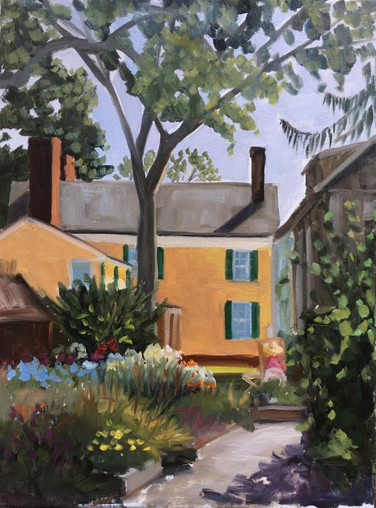 """""""Painting in the Garden - Florence Griswold Museum, Old Lyme CT"""" original fine art by Linda Marino"""