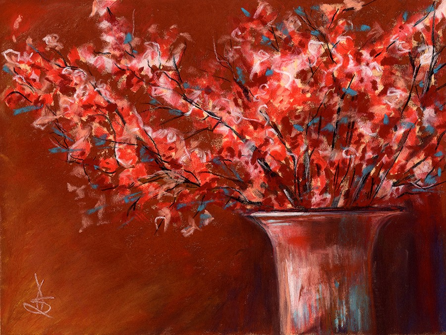 """Copper Vase with Flowers"" original fine art by Valorie Sams"