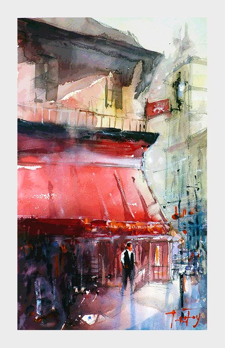 """Streets of Paris"" original fine art by Jurij Frey"