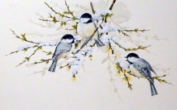 """Chickadees"" original fine art by Jean Pierre DeBernay"