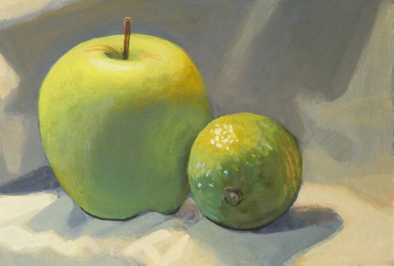 """""""Apple and lime"""" original fine art by Peter Orrock"""