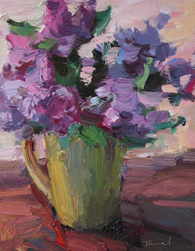 """Lilacs in Yellow Cup"" original fine art by Kathryn Townsend"
