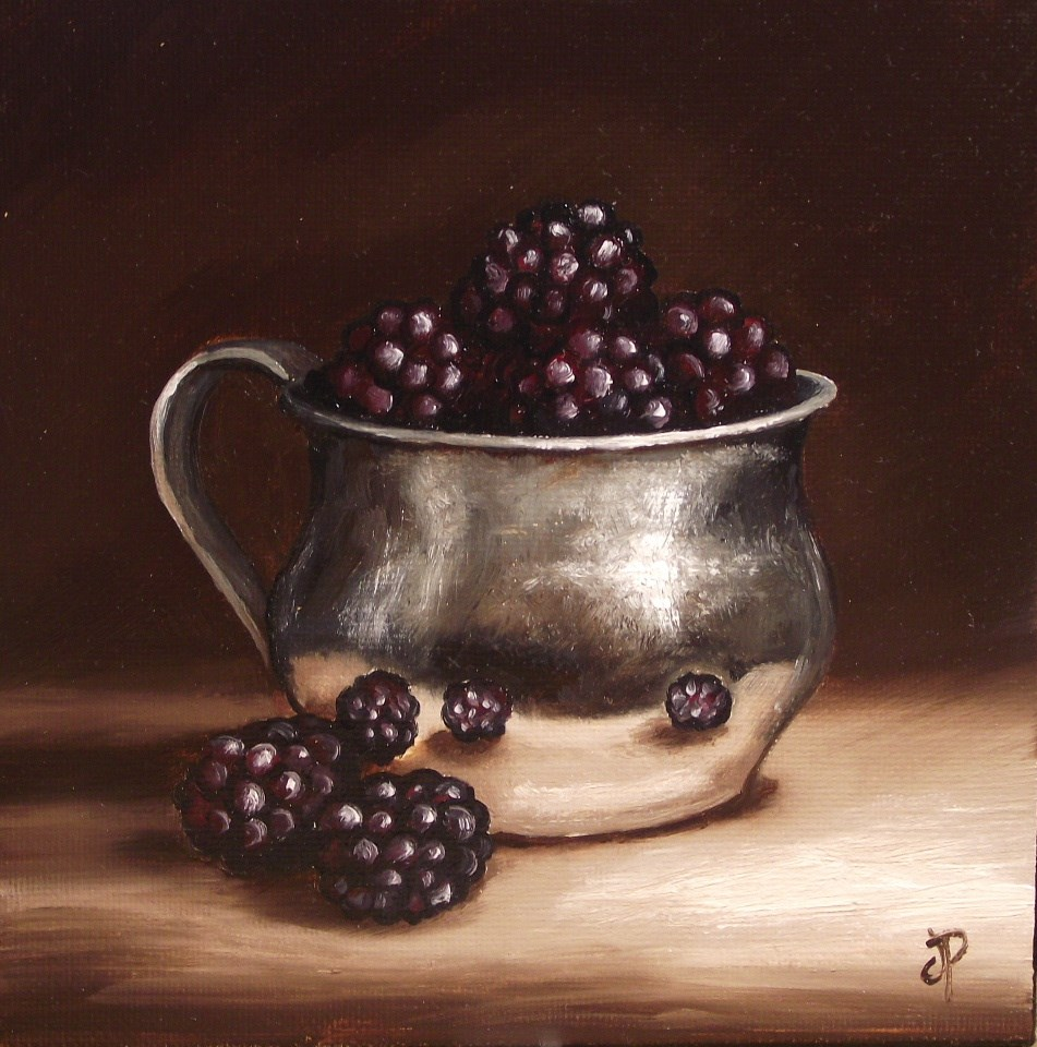 """Silver cup with Blackberries"" original fine art by Jane Palmer"
