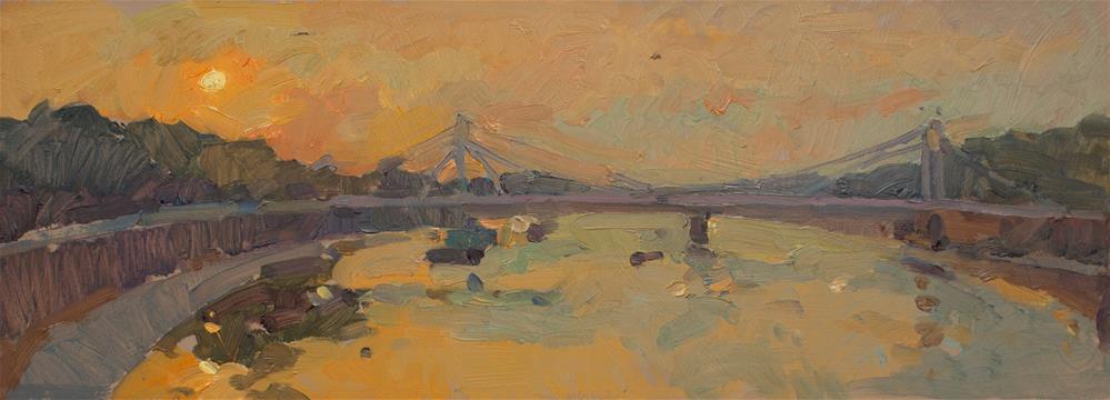 """First Light over Albert Bridge"" original fine art by Natalia Avdeeva"