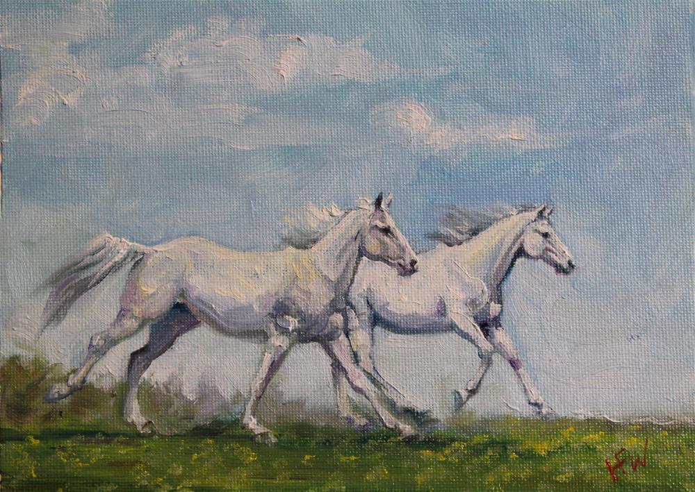 """""""Summer Ponies"""" original fine art by H.F. Wallen"""