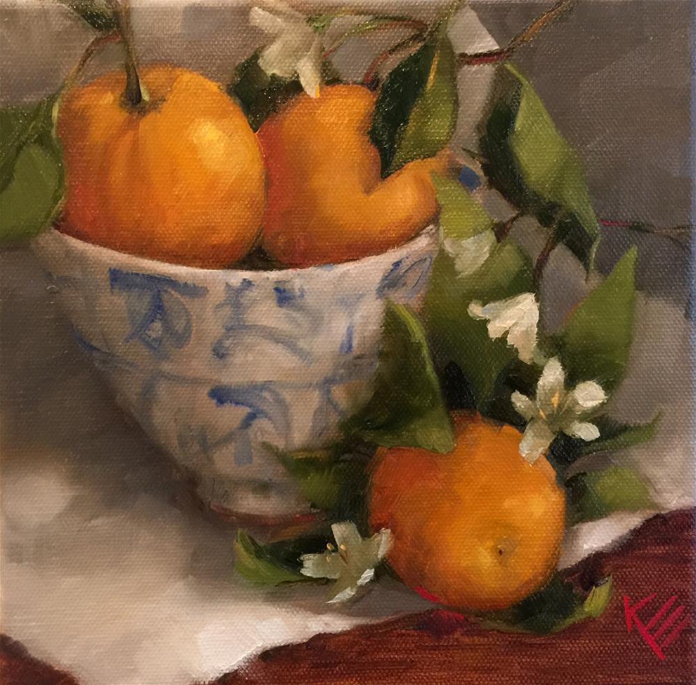"""Oranges & Blue & White dish "" original fine art by Krista Eaton"