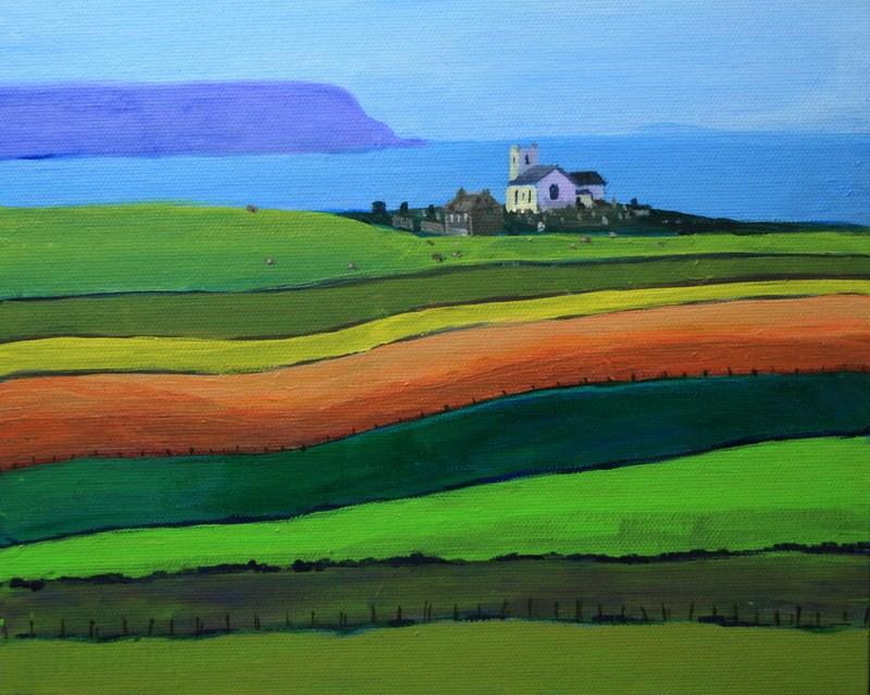 """Old Irish Church By the Sea"" original fine art by Jean Nelson"