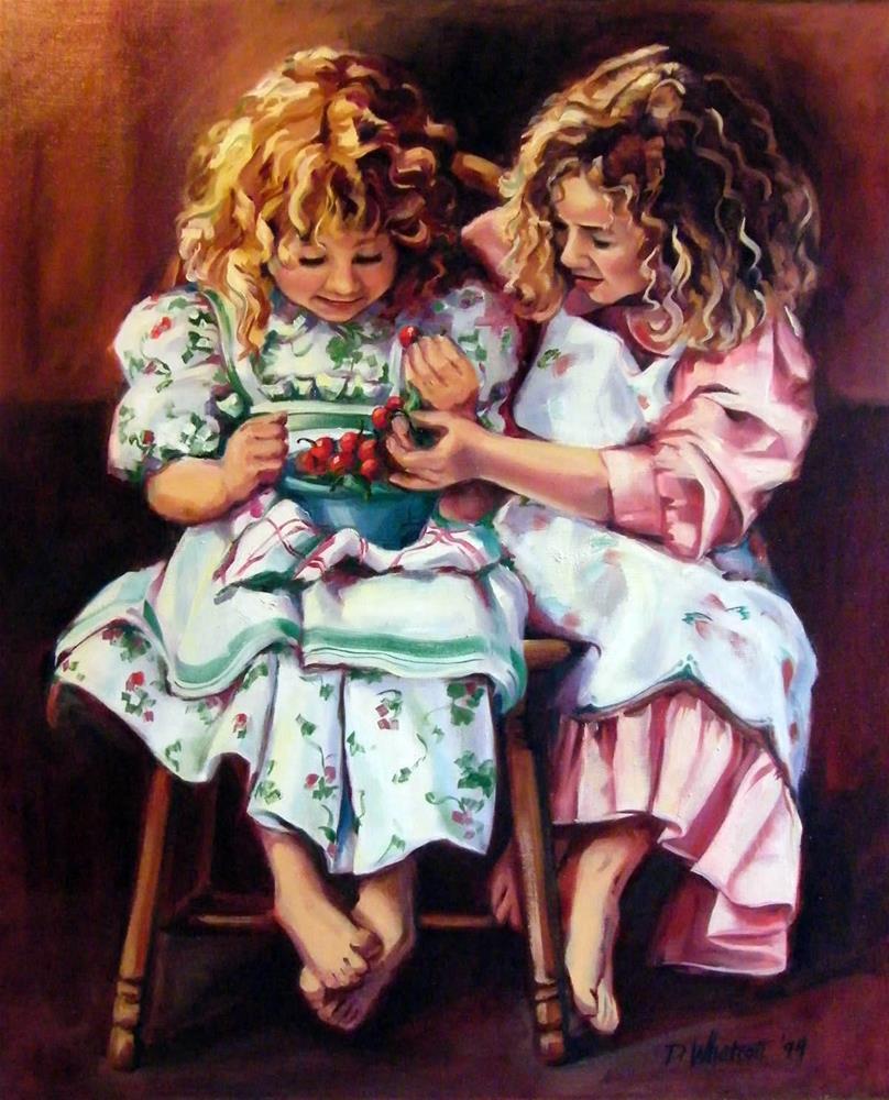 """Sharing a Bowl of Cherries"" original fine art by Donna Whatcott Parsons"