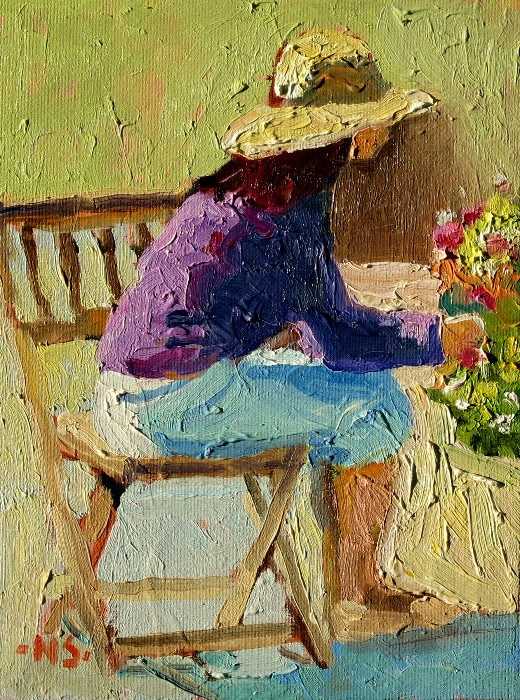 """""""Seated Figure with Hat 12044 SOLD 5/22/2012"""" original fine art by Nancy Standlee"""
