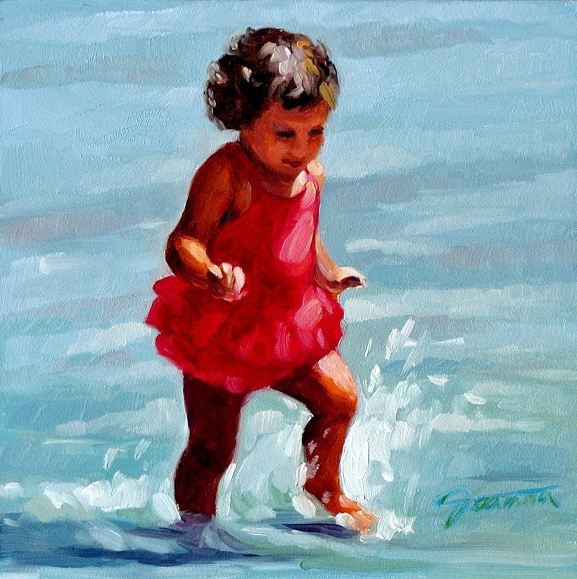 """Fun Splash--Beach Babies Series"" original fine art by Joanna Bingham"