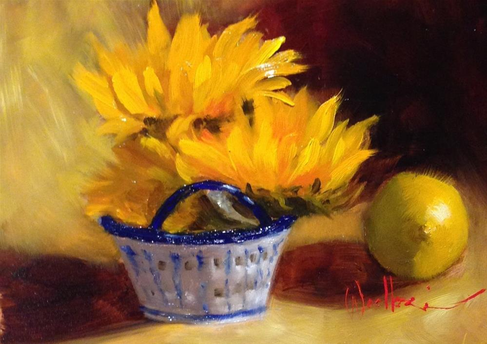 """""""Blue and White Basket with Sunflowers"""" original fine art by Dorothy Woolbright"""