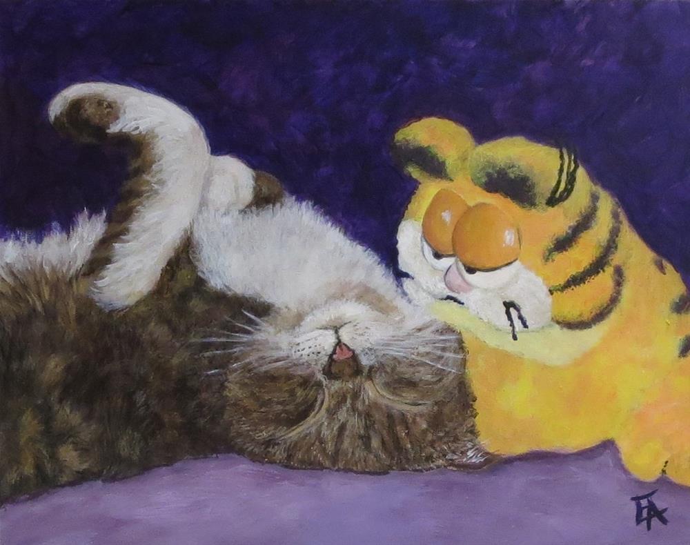 """Lazy Cat!"" original fine art by Elizabeth Elgin"