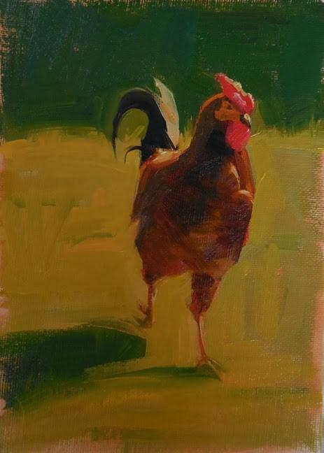 """""""Chicken"""" original fine art by Kathy Weber"""